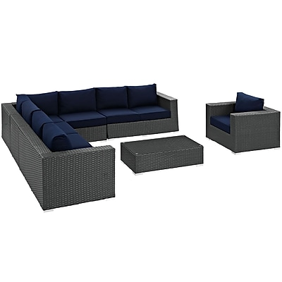 Sojourn 7 Piece Outdoor Patio Sunbrella® Sectional Set in Chocolate Navy (889654032106)