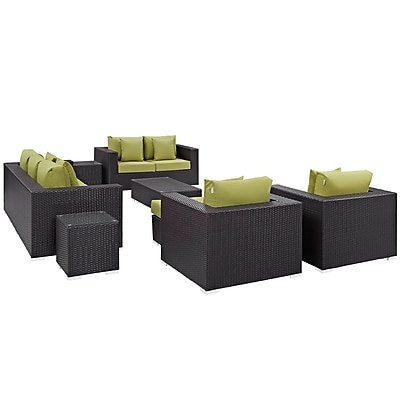 Convene 9 Piece Outdoor Patio Sofa Set in Espresso Peridot (889654044758)