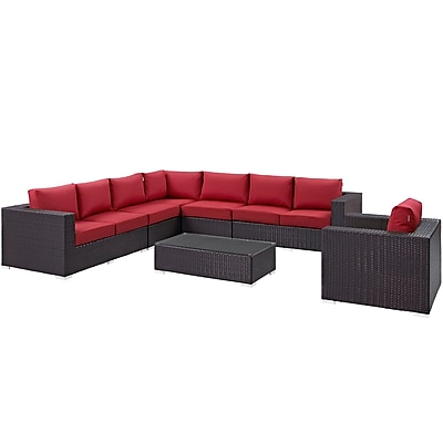 Modway Convene 7 Piece Outdoor Patio Sectional Set in Espresso Red (889654044833)
