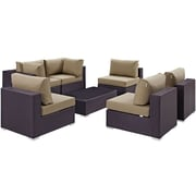 Modway Convene 7 Piece Outdoor Patio Sectional Set in Espresso Mocha (889654044949)