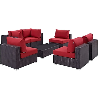 Modway Convene 7 Piece Outdoor Patio Sectional Set in Espresso Red (889654044970)