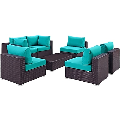 Modway Convene 7 Piece Outdoor Patio Sectional Set in Espresso Turquoise (889654044987)