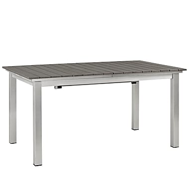 Shore Outdoor Patio Wood Dining Table in Silver Gray (889654064824)