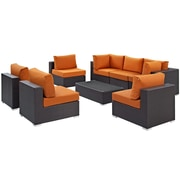 Modway Convene 8 Piece Outdoor Patio Sectional Set in Espresso Orange (889654060802)