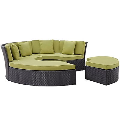Convene Circular Outdoor Patio Daybed Set in Espresso Peridot (889654045441)
