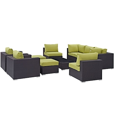 Convene 10 Piece Outdoor Patio Sectional Set in Espresso Peridot (889654045311)