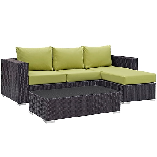 Modway Convene 3 Piece Outdoor Patio Sofa Set in Espresso Peridot (889654045892)