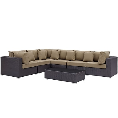 Modway Convene 7 Piece Outdoor Patio Sectional Set in Espresso Mocha (889654045229)