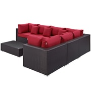 Convene 7 Piece Outdoor Patio Sectional Set in Expresso Red (889654045250)