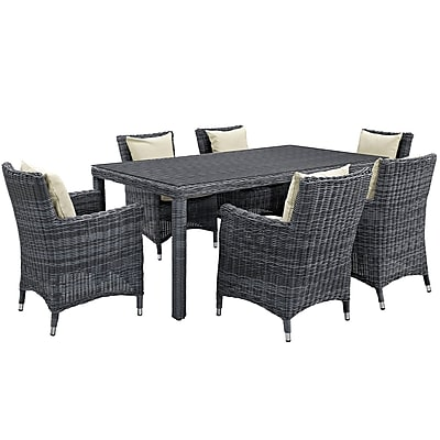 Modway Summon 7 Piece Outdoor Patio Sunbrella® Dining Set in Antique Canvas Beige (889654069096)