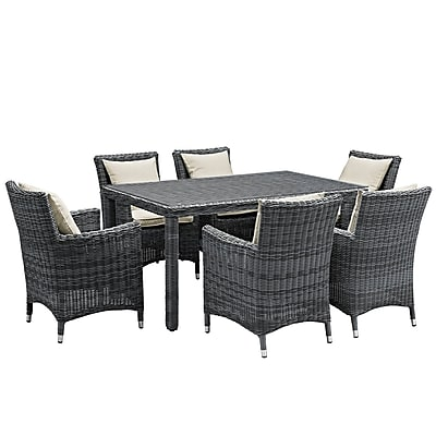 Modway Summon 7 Piece Outdoor Patio Sunbrella® Dining Set in Antique Canvas Beige (889654069218)
