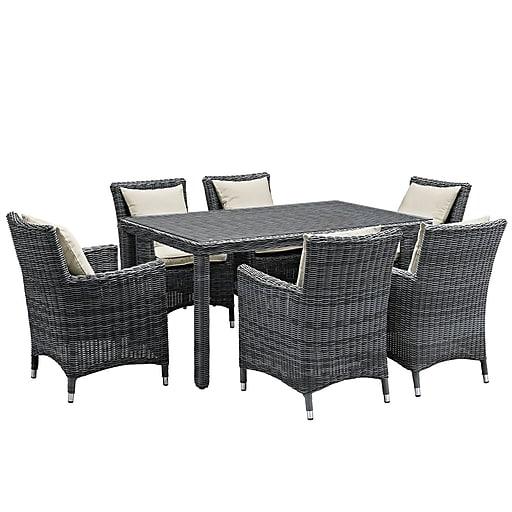Modway Summon 7 Piece Outdoor Patio Sunbrella® Dining Set in Antique Canvas Beige (889654069218)