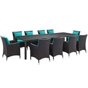 Modway Convene 11 Piece Outdoor Patio Dining Set in Espresso Turquoise (889654062653)