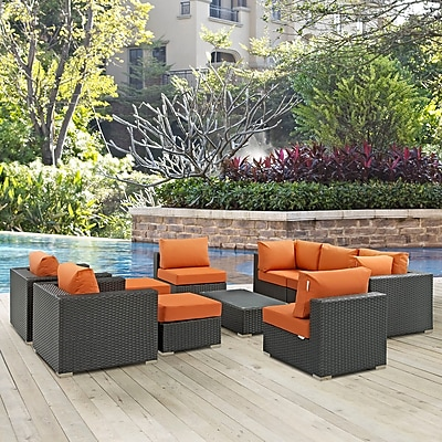Sojourn 10 Piece Outdoor Patio Sunbrella® Sectional Set in Canvas Tuscan (889654026129)