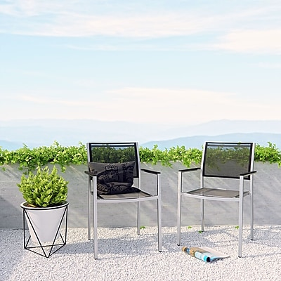 Shore Outdoor Patio Aluminum Dining Chair in Silver Black (889654065135)
