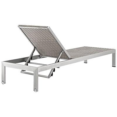 Shore Outdoor Patio Aluminum Rattan Chaise in Silver Gray (889654064756)