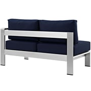 Shore Right-Arm Corner Sectional Outdoor Patio Aluminum Loveseat in Silver Navy (889654064893)