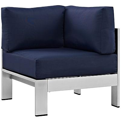 Modway Shore Outdoor Patio Aluminum Corner Sofa in Silver Gray (889654064978)