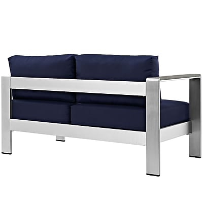 Shore Left-Arm Corner Sectional Outdoor Patio Aluminum Loveseat in Silver Navy (889654065012)