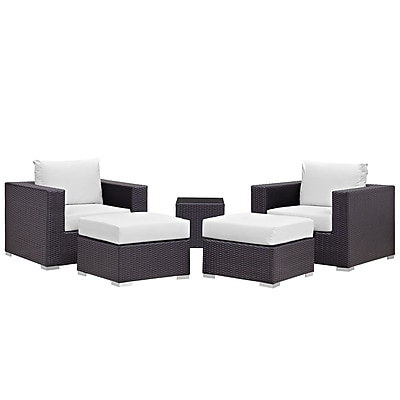 Modway Convene 5 Piece Outdoor Patio Sectional Set in Espresso White (889654060567)