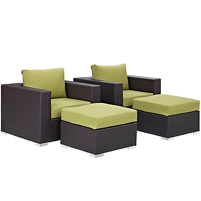 Convene 4 Piece Outdoor Patio Sectional Set in Espresso Peridot (889654060604)