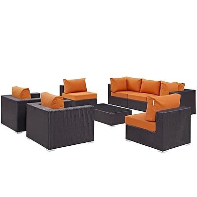Modway Convene 8 Piece Outdoor Patio Sectional Set in Espresso Orange (889654060666)