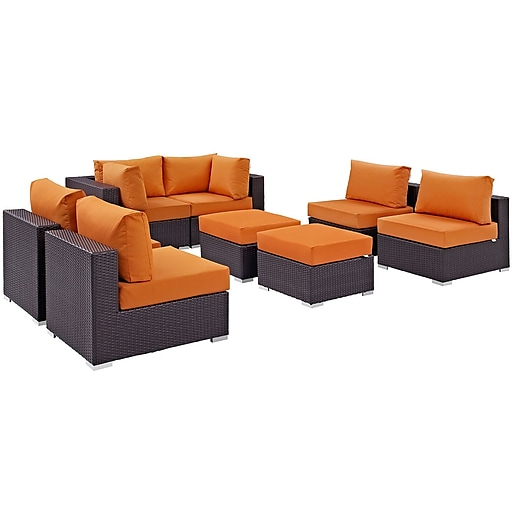 Modway Convene 8 Piece Outdoor Patio Sectional Set in Espresso Orange (889654060734)