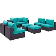 Modway Convene 8 Piece Outdoor Patio Sectional Set in Espresso Turquoise (889654060765)