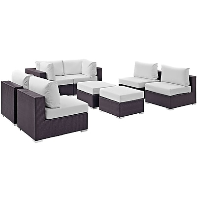 Modway Convene 8 Piece Outdoor Patio Sectional Set in Espresso White (889654060772)