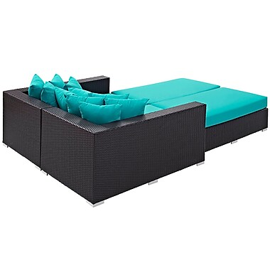 Convene 4 Piece Outdoor Patio Daybed in Espresso Turquoise (889654044703)