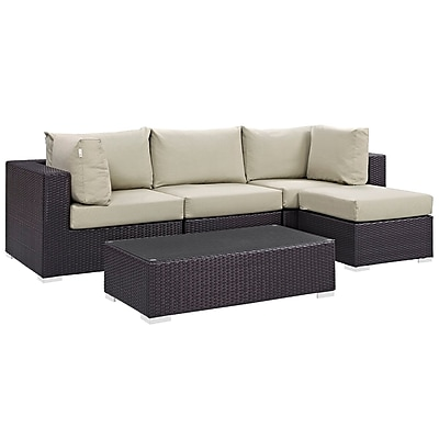 Modway Convene 5 Piece Outdoor Patio Sectional Set in Espresso Beige (889654045489)