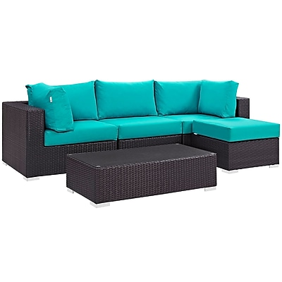 Modway Convene 5 Piece Outdoor Patio Sectional Set in Espresso Turquoise (889654045533)