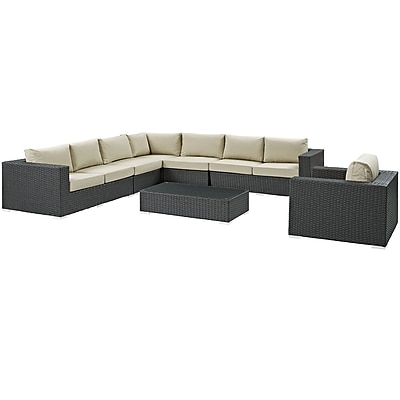 Sojourn 7 Piece Outdoor Patio Sunbrella® Sectional Set in Chocolate Beige (889654032090)