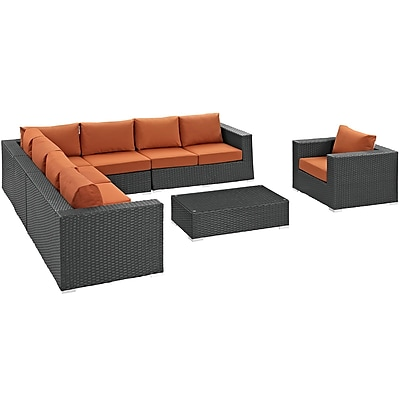 Sojourn 7 Piece Outdoor Patio Sunbrella® Sectional Set in Chocolate Tuscan (889654032113)