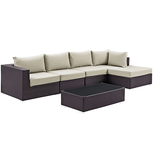 Modway Convene 5 Piece Outdoor Patio Sectional Set in Espresso Beige (889654045144)
