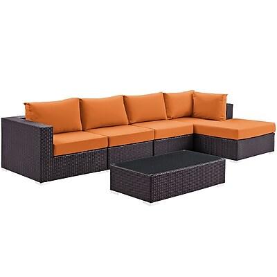 Modway Convene 5 Piece Outdoor Patio Sectional Set in Espresso Orange (889654045168)
