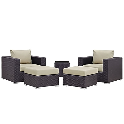 Modway Convene 5 Piece Outdoor Patio Sectional Set in Espresso Beige (889654051596)