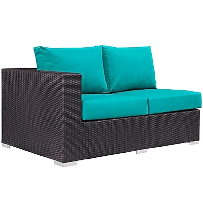 Convene 11 Piece Outdoor Patio Sectional Set in Espresso Turquoise (889654045120)