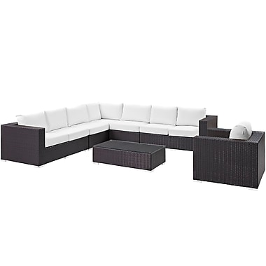 Modway Convene 7 Piece Outdoor Patio Sectional Set in Espresso White (889654044857)