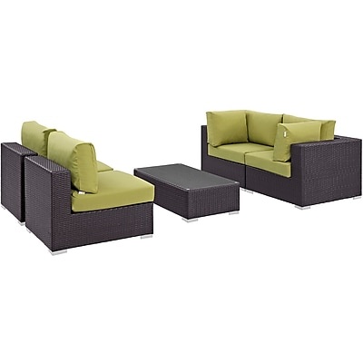 Modway Convene 5 Piece Outdoor Patio Sectional Set in Espresso Peridot (889654044895)