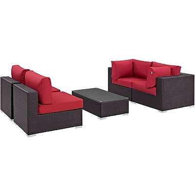Modway Convene 5 Piece Outdoor Patio Sectional Set in Espresso Red (889654044901)