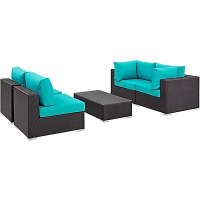 Modway Convene 5 Piece Outdoor Patio Sectional Set in Espresso Turquoise (889654044918)