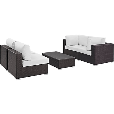 Modway Convene 5 Piece Outdoor Patio Sectional Set in Espresso White (889654044925)