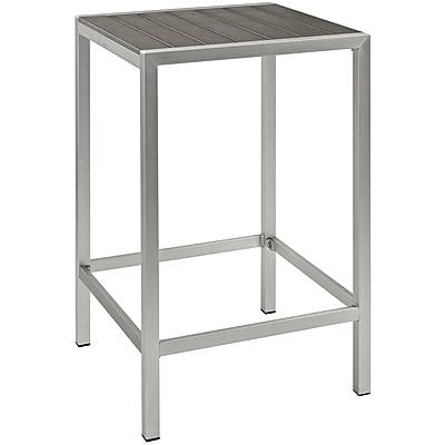 Modway Shore Outdoor Patio Aluminum Bar Table in Silver Gray (889654064817)