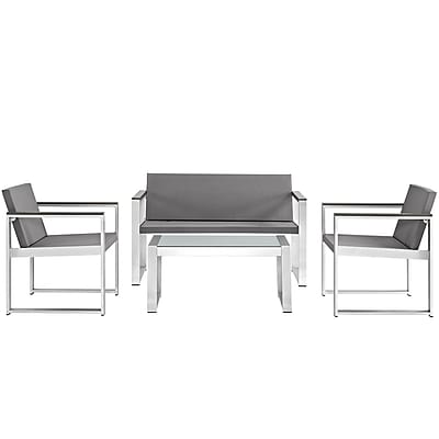 Triumph Outdoor Patio Aluminum Patio Sectional Set in Silver Gray (889654064855)
