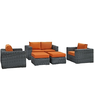 Modway Summon 5 Piece Outdoor Patio Sunbrella® Sectional Set in Canvas Tuscan (889654026273)