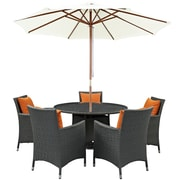 Modway Sojourn 7 Piece Outdoor Patio Sunbrella® Dining Set in Canvas Tuscan (889654064220)