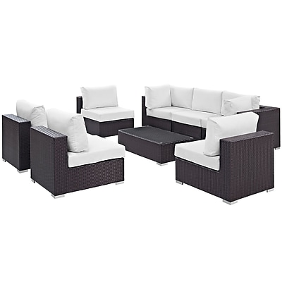 Modway Convene 8 Piece Outdoor Patio Sectional Set in Espresso White (889654060840)