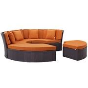 Convene Circular Outdoor Patio Daybed Set in Espresso Orange (889654045434)