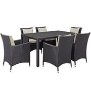 Modway Convene 7 Piece Outdoor Patio Dining Set in Espresso Beige (889654062745)